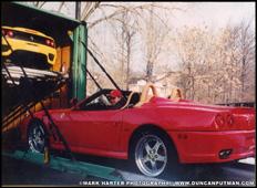 DuncanPutman.com Website Administrator Mark Harter unloading a Ferrari 550 Maranello Barchetta