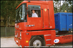 DuncanPutman.com Website Administrator Mark Harter behind the wheel of a Renault AE500 Magnum while visiting Sicily in 1996