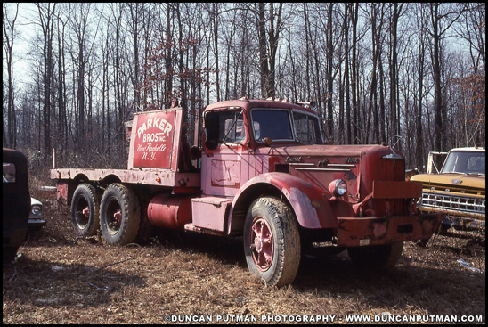 A vintage  Mack L-Model sits resting in New Holland, PA in 1992 - Photo by Duncan Putman
