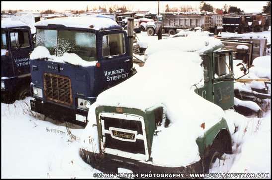 A 1974 Mack F700 and a 1972 Brockway 361 - Photo by Mark Harter