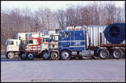 Various cabovers at a truckstop - Photo by Duncan Putman