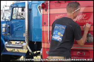 Kurt Smith of Brushfire Design paints on a classic Kenworth K100