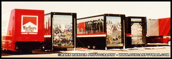 Lineup of Team Penske IndyCar Transporters