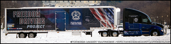 Truckers Against Trafficking Everyday Heros 2019 Kenworth T680 pulling the Freedom Drivers Trailer