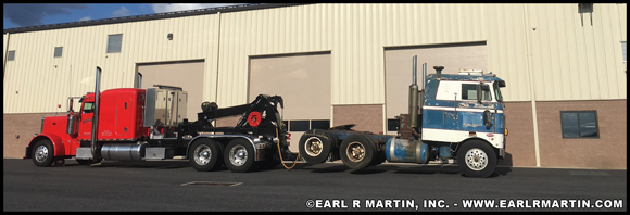 ERM, Inc. 2007 Peterbilt model 379 with Detachable Towing Unit (DTU) pulling their 1968 Peterbilt model 352