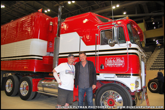 Mark Harter and Greg Evigan with the 1980 Kenworth K100C Aerodyne used in the television show B.J. and the Bear - Photo by Duncan Putman