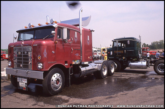 A 1949 and 1951 Kenworth Bullnoses, photographed in May 1989 at the 13th Annual Diesel Truckin' Nationals in Englishtown, NJ - Photo by Duncan Putman