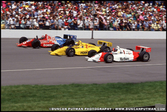 1990 Indianapolis 500 Front Row - Emerson Fittipaldi, Rick Mears and Arie Luyendyk on the pace lap  - Photo by Duncan Putman