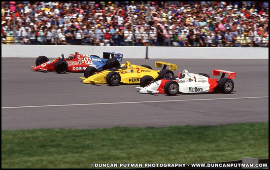 1990 Indianapolis front row: Emerson Fittipaldi, Rick Mears and Arie Luyendyk - Photo by Duncan Putman