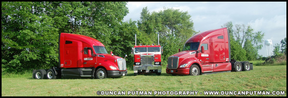 Two of Jessup Logistic's Kenworth T680s with Jessup Trucking's 1955 Kenworth 523C Bullnose